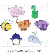 Vector Clip Art of a Digital Group of Cute Doodled Animals by Yayayoyo