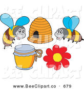 Vector Clip Art of a Digital Group of Two Bees, Honey a Hive and Flower by Visekart