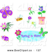 Vector Clip Art of a Digital Set of a Bee, Beetle, Butterfly, Flowers and Spring Is Here Banner by