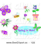 Vector Clip Art of a Digital Set of a Bee, Butterfly, Ladybug and Flowers with a Spring Is Here Greeting by