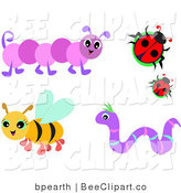Vector Clip Art of a Digital Set of a Bee, Caterpillar, Worm and Ladybugs by