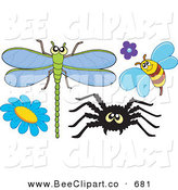 Vector Clip Art of a Digital Set of a Dragonfly, Bee, Spider and Flowers by Visekart