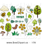 Vector Clip Art of a Digital Set of a Group of Nature Icons and Items by BNP Design Studio
