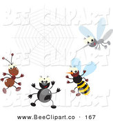 Vector Clip Art of a Digital Set of a Mosquito, Bee, Spider and Ant by a Spider Web by Alex Bannykh