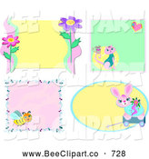 Vector Clip Art of a Digital Set of Animal, Insect and Flower Frames by