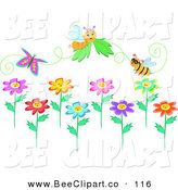 Vector Clip Art of a Digital Set of Bees, a Butterfly and Flower by