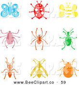 Vector Clip Art of a Digital Set of Colorful Insect Icons by Prawny