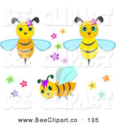 Vector Clip Art of a Digital Set of Cute Bees with Flowers by