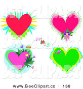 Vector Clip Art of a Digital Set of Flowers, Bees and Hearts by