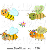 Vector Clip Art of a Digital Set of Four Happy Bees by
