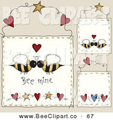 Vector Clip Art of a Digital Set of Hanging Bee Mine Door Signs by Inkgraphics