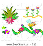Vector Clip Art of a Digital Set of Plants, Flowers and a Bee by