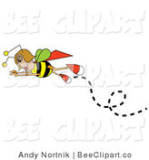 Vector Clip Art of a Female Bee in Flight, Flying Left by Andy Nortnik