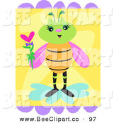 Vector Clip Art of a Female Green Bee with a Green Head, Holding a Heart by