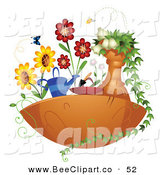 Vector Clip Art of a Floating Garden with Butterflies, Bees and Flowers on White by BNP Design Studio