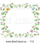 Vector Clip Art of a Floral Vine Border with Hearts, Bees and Butterflies on White by