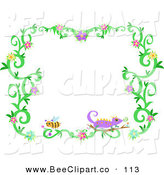 Vector Clip Art of a Flower, Bee and Purple Lizard Border Frame by