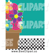 Vector Clip Art of a Flower Pot and Bee over Turquoise and a Checkered Floor by Maria Bell