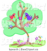 Vector Clip Art of a Flowering Green Tree with Two Birds, a Worm and a Honey Bee by