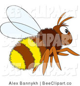 Vector Clip Art of a Fluffy Brown and Yellow Bee by Alex Bannykh