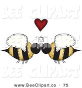 Vector Clip Art of a Folk Art of a Happy Bee Couple Under a Red Heart by Inkgraphics