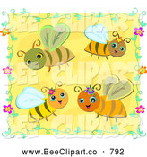 Vector Clip Art of a Four Cute Happy Bees and a Floral Vine Border on Yellow by