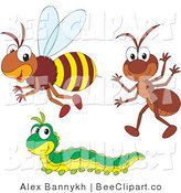 Vector Clip Art of a Friendly Bee Ant and Caterpillar by Alex Bannykh