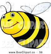 Vector Clip Art of a Friendly Chubby Black and Yellow Bee on White by Jiri Moucka