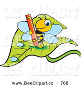Vector Clip Art of a Friendly Cute Bee Holding a Red Crayon on a Wet Leaf by Lal Perera
