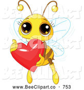 Vector Clip Art of a Friendly Cute Bee Holding a Shiny Red Heart by Pushkin