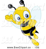Vector Clip Art of a Friendly Cute Yellow Bee Waving and Flying by Yayayoyo