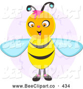 Vector Clip Art of a Friendly Happy Bee over a Purple Oval by