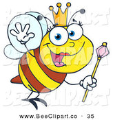 Vector Clip Art of a Friendly Queen Bee Flying Right by Hit Toon