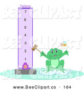 Vector Clip Art of a Frog with a Purple Believe Meter and Bee by
