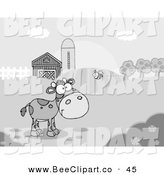 Vector Clip Art of a Grayscale Bumblebee Flying Towards a Lone Young Cow in a Pasture by Hit Toon