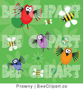 Vector Clip Art of a Green Background of Four Funny Birds, Bees and Flowers by Prawny