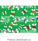 Vector Clip Art of a Green Floral Background of Colorful Busy Buzzing Bees by Prawny