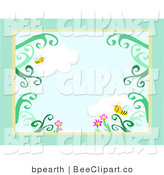 Vector Clip Art of a Green Stationery Border of Honey Bees Flying over Pink Flowers and a Cloudy Sky by