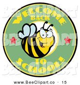 Vector Clip Art of a Green Welcome Back to School Bee Circle on White by Hit Toon