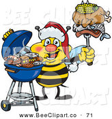 Vector Clip Art of a Grilling Honey Bee Cook Wearing a Santa Hat and Holding Food on a BBQ Fork by Dennis Holmes Designs