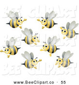 Vector Clip Art of a Group of Happy Bumble Bees Flying in Different Directions by BNP Design Studio