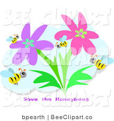 Vector Clip Art of a Group of Honey Bees Flying in a Flower Garden with Save the Honeybees Text by