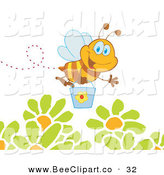 Vector Clip Art of a Happy and Smiling Honey Bee Flying with a Bucket over Flowers by Hit Toon