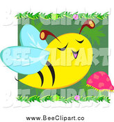Vector Clip Art of a Happy Bee by a Mushroom by Bpearth