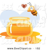 Vector Clip Art of a Happy Bee Flying over a Spilled Jar of Honey over a Heart by Qiun
