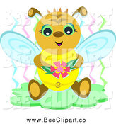Vector Clip Art of a Happy Bee Holding a Flower by