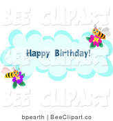 Vector Clip Art of a Happy Birthday Bee Greeting on a Blue Cloud by Bpearth