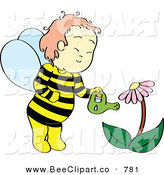 Vector Clip Art of a Happy Boy in a Bee Costume Watering a Coneflower Plant by Cherie Reve