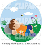 Vector Clip Art of a Happy Boy Relaxing Outside Watching a Bee by Vitmary Rodriguez
