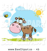 Vector Clip Art of a Happy Brown Calf Watching a Bee on a Sunny Day by Hit Toon